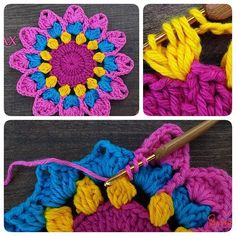 #coaster #crochet #handmade #colorful #flowersofinstagram #flowers #ideas #pink #yellow #blue