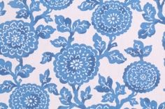 Fabric by the Yard :: Premier Prints Mums Printed Cotton Drapery Fabric in Cobalt - FabricGuru.com: Discount and Wholesale Fabric, Upholstery Fabric, Drapery Fabric, Fabric Remnants