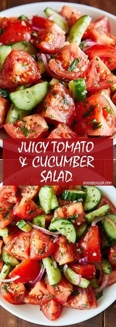 Juicy Tomato and Cucumber Salad. So summery and so delicious. The dressing is so addictive that you will be making this salad over and over again. | ifoodblogger.com #tomatosalad #tomatocucumber #summersalad #cucumbersalad #healthysalald #bestsalad #quicksalad