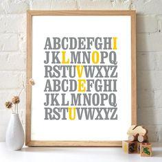 8x10 ABC Print. I love you. Alphabet Love. by 2142stuart on Etsy