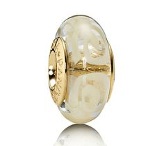 Pandora 14ct Gold White Spirals Murano Glass Charm