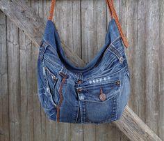 Cross body bag slouchy hobo purse recycled upcycled denim by BukiBuki on Etsy