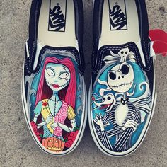 Jack Skellington and Sally Shoes The Nightmare Before Christmas Painted Canvas Shoes, Hand Painted Shoes, Unique Christmas Gifts, Jack Skellington, Nightmare Before Christmas, On Shoes, Sally, Painting Shoes, Vans