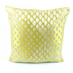Gold pillow cover 18x18 throw pillow, Gold Silk Pillow, Golden Pillow cover, Geometric gold accent pillow