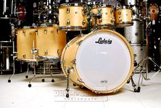 """Ludwig Classic Maple 6pc Drum Set Satin Natural 22x18, 8x7, 10x8, 12x9, 14x14, 16x16. Mini Classic Lugs, ATLAS Double Tom Mount (mount for 8"""" not included), Elite Spurs, ATLAS Brackets/Floor Tom Legs, Monroe Keystone badge, Satin Natural finish. Gorgeous! This drum set was displayed at the 2015 NAMM show and shows wear on the heads as a result. The kit is otherwise in new condition! Purchase Here: http://www.drumcenternh.com/ludwig-classic-maple-6pc-drum-set-satin-natural.html"""