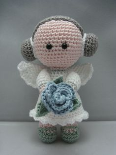 Beautiful #Angels that I've found for you. Includes #Free #Crochet Patterns ~ Crochet Addict UK. Flower Angel (Instant download Amigurumi doll crochet pattern pdf)