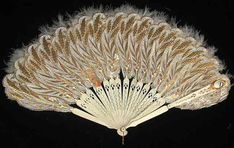 Punched Paper and Feather Fan with Mirror, 1863, Paper, ivory, feathers, glass