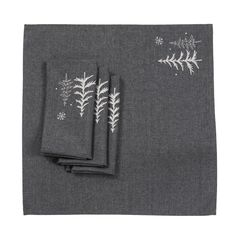 H x 20 in. W x 20 in. D Snowing Forest Christmas Napkins in Dark Gray (Set of Matching placemats, napkins and table runner available. Made with wrinkle and stain resistant easy care poliviscose. Christmas Placemats, Christmas Table Decorations, Christmas Decor, Grey Fabric, Linen Fabric, Paisley Quilt, Fabric Placemats, Ceramic Owl, Elephant Nursery