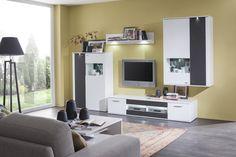 obývačka: Salsa vyhotovenie:Biela arctic / Grafit / Biela arctic vysoký lesk Corner Desk, Salsa, Flat Screen, News, Furniture, Home Decor, Corner Table, Blood Plasma, Decoration Home