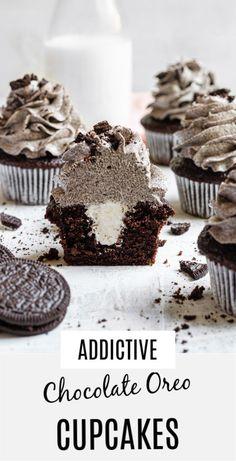 Cupcakes Oreo, Cupcake Cakes, Chocolate Cupcake Recipes, Good Cupcake Recipes, Oreo Dessert Recipes, Gourmet Cupcakes, Strawberry Cupcakes, Velvet Cupcakes, Easter Cupcakes