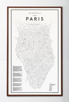 Affisch i begränsad upplaga i vackert format. Karta med guide över platser och upplevelser i Paris.