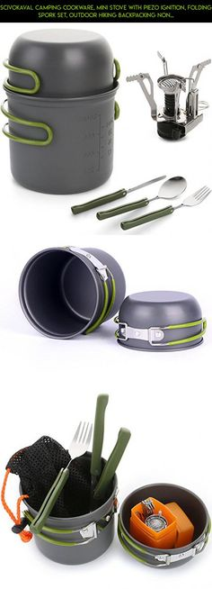 ScivoKaval Camping Cookware, Mini Stove with Piezo Ignition, Folding Spork Set, Outdoor Hiking Backpacking Non Stick Cooking set Picnic Bowl Pot and Pan #technology #cooking #kit #mug #parts #products #shopping #drone #outdoor #gadgets #plans #tech #camera #fpv #racing