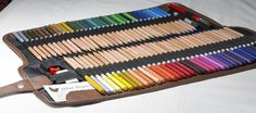 72 different assorted colors in a canvas portable case #coloredpencil #art #drawing #watercolor | jnwdirect.com Watercolor Pencils, Colored Pencils, Kit, Drawing, Canvas, Colors, Accessories, Colouring Pencils, Tela