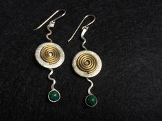 Zig Zag Gold Fill and Sterling Silver with Malachite Earrings