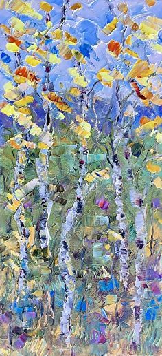 """Daily Painters Abstract Gallery: Original Palette Knife Aspen Landscape Painting """"Dreaming of Spring"""" by Colorado Impressionist Judith Babcock"""