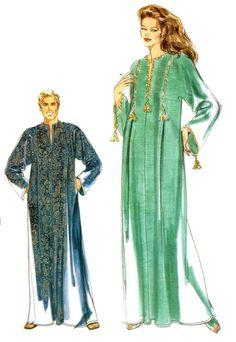 Vogue 7018 Mens Misses Caftan Loose Fitting Kaftan Sewing Pattern by PeoplePackages