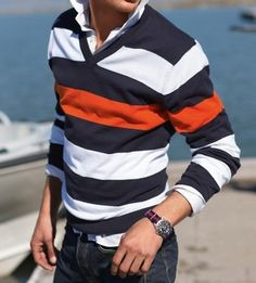 seriously...sweater game is happening Striped shirt, pop of color