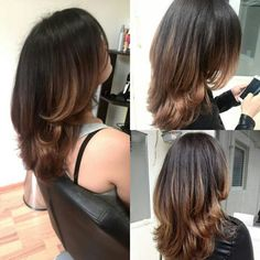 Balayage and layered haircut for medium hair