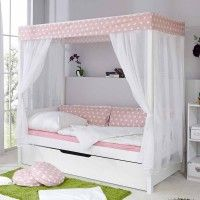 """Order Ticaa single / four-poster bed, pine """"Lino"""" in 2 widths online ✓ Purchase on installments ✓ FSC®-certified Mattress Covers, Bed Mattress, Four Poster Bed, Poster Beds, Built In Desk, Teen Room Decor, Bed Sizes, Bed Design, Bed Frame"""