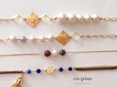 pearl & square chain bracelet A