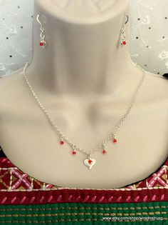 Sterling Silver and Red Crystal Heart necklace set, Gift for her, Minimalist Jewelry, Heart necklace set, Sterling Silver jewelry
