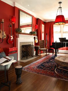 Love this MUSIC ROOM ~  Lullwater eclectic living room, GA. Christy Dillard Kratzer.
