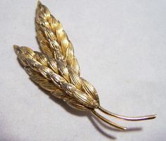Napier Sterling Silver Wheat Sheaf Pin Gold by GretelsTreasures