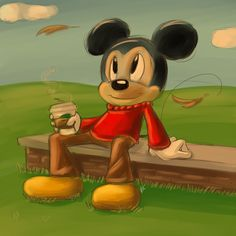 Mickey and his coffee! by Blue-Chica.deviantart.com on @deviantART