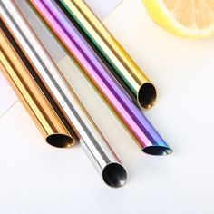 2 x Reusable Wide Metal Drinking Straws Straight Drinks Straw with Cleaning Brush Drink Pearl Milkshake Bubble Tea Straw Description: Bubble Tea Straws, Fat Burning Tea, How To Use Dishwasher, Metal Straws, Stainless Steel Straws, Diet Plan Menu, Brush Cleaner, Milkshake, Drinking Tea