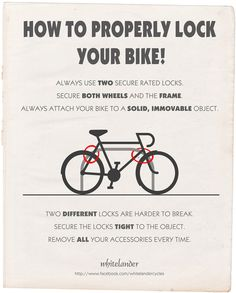 How to properly lock your bike (by Whitelander Cycles) Cruiser Bike Accessories, Cool Bike Accessories, Cycling Tips, Road Cycling, Cycling Quotes, Mountain Bike Shoes, Mountain Biking, Believe, Buy Bike
