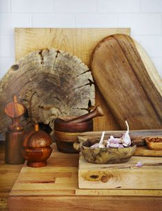 .spice up your kitchen with old or new wooden cutting boards, bowls and spice mills.