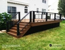Evolutions Brown Oak decking with TimberTech Black Evolutions Rail wi. two toned deck staining Lattice Deck, Deck With Pergola, Black Pergola, Pergola Kits, Pergola Cover, Pergola Roof, Patio Roof, Pergola Ideas, Pergola Curtains
