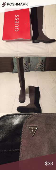 """Guess Factory Chimara 3 boots. Simple chic above-the-knee boots. Almond toe. Stretch faux-suede upper. Stretch fabric panels. Logo plaque at top. Slip on style. Very slim fit. Great addition to any fall wardrobe.  1"""" heel 21.5"""" shaft height 12"""" shaft width         Offers welcome! Guess Factory Shoes Over the Knee Boots"""