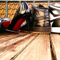 timeless design b778f f788e Nike Air Jordan 1 retro black gum, black white   Louboutin Simple Pump Kid