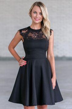 Black Lace A-Line Party Dress, Cute Little Black Dress Online