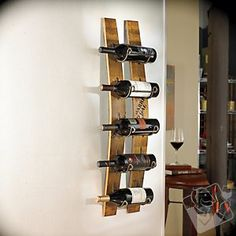 wine rack made from wine barrel staves.