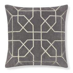 Moorish Tile Embroidered Velvet Pillow Cover, Drizzle/Silver #williamssonoma