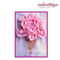 In The Hoop - ITH Shabby Sweet Ruched Ice Cream Cone on sale now at Embroitique! Embroidery Alphabet, Embroidery Fonts, Monogram Alphabet, Monogram Fonts, Applique Designs, Machine Embroidery Designs, Create Name, Free Design, Shabby