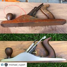 #Repost @michael_rupert ・・・ Before and after. I picked up this Stanley Bailey No.5C the day @toddnebel posted his hand plane restoration process, which was extremely helpful. I replaced the original iron with a Veritas A2 blade because the old one was too bent out of shape to fuss with. The rosewood knob and tote turned out beautiful considering how sun bleached they were from being left outside. #StanleyToolHeritage #StanleyTools #Handtools #Woodworking #Restoration #AnotherToolRescued…