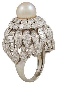 ➗DAVID WEBB Diamond & Pearl Ring