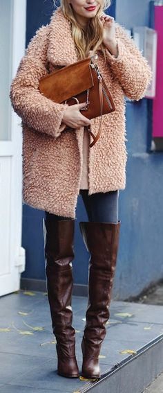 Leather over the knee boots + fuzzy jacket.