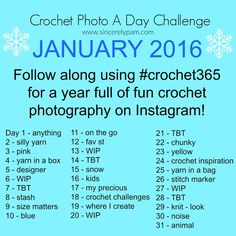 Crochet Photo A Day Challenge on Instagram - January 2016