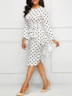Gender: WomenMaterial: PolyesterStyle: Office LadySilhouette: SheathPattern Type: DotSleeve Length(cm): FullDecoration: RufflesDresses Length: Knee-LengthSleeve Style: RegularWaistline: NaturalNeckline: O-NeckSeason: Summer Elegant Midi Dresses, Trendy Dresses, Women's Fashion Dresses, Nice Dresses, Casual Dresses, Beautiful Dresses, Short Sleeve Dresses, Dresses With Sleeves, Long Sleeve