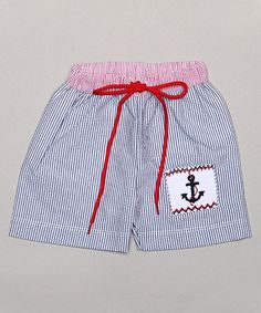 Look what I found on #zulily! Blue & Red Anchor Swim Trunks - Infant & Toddler by Classy Couture #zulilyfinds