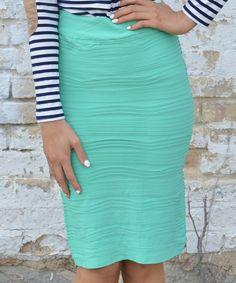 Look what I found on #zulily! Bella Mikol Designs Mint Ruffle Pencil Skirt - Women by Bella Mikol Designs #zulilyfinds