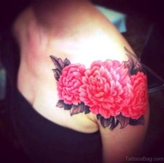 Realistic Peony Flowers Tattoo On Girl Left Shoulder