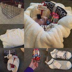 Cute basket, fuzzy blanket, XL wine glass with chocolates, pajamas, slippers, fuzzy socks, and Amazing Grace body wash & roll on perfume