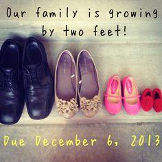 Creative Shoe Baby no. 2 pregnancy announcement