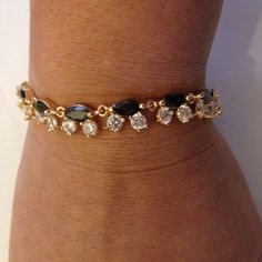 Bracelet 18cm Black sapphire 925 Silver 18k gold Filled Jewelry.(NEW)                                                          No Trades.                                                                No Holds.                                                                 No PayPal. Jewelry Bracelets
