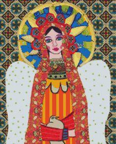 Modern cross stitch kit by Heather Galler 'Angel par GeckoRouge, $74,95